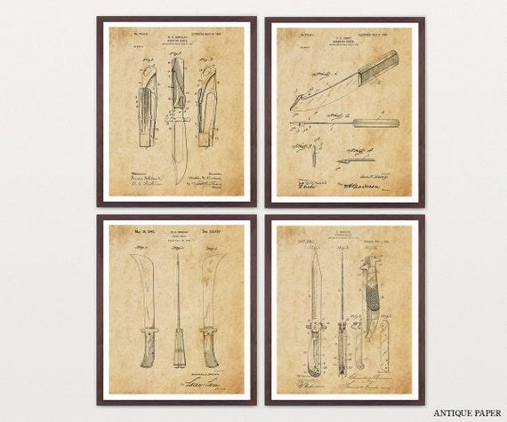 Knife Art - Knife Patent Poster - Hunting Knives - Hunting Art - Knives - Hunting Knives - Knife Poster - Mens Gift - Men Art - Husband Gift