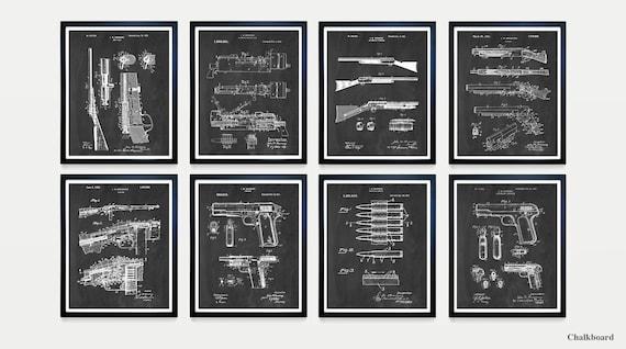 Browning Gun Patent Art - Browning Firearms - Firearm Poster - Gun Art - Gun Room Wall Art - Firearm Decor - Shotgun Patent - Rifle - Print