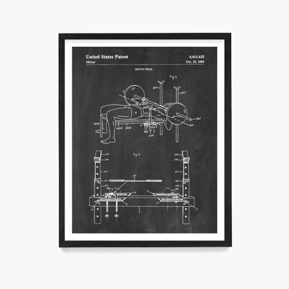 Bench Press Patent Print, Fitness Poster, Weight Lifting Poster, Gym Poster, Body Building Poster, Fitness Art, Weight Lifting Wall Art