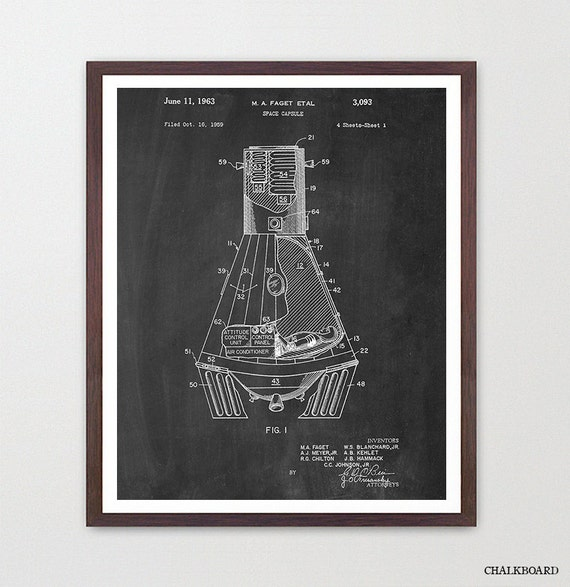 Space Capsule Poster - Space Ship Art - Patent Print - Patent Poster - NASA - Gravity - Space Odyssey - NASA Poster - Moon Poster - Moon
