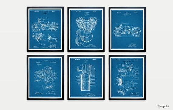 Harley Davidson Super Patent Set - Harley Davidson Patent - Harley Motorcycle Art - Motorcycle Poster - Motorcycle Patent - Harley Patent