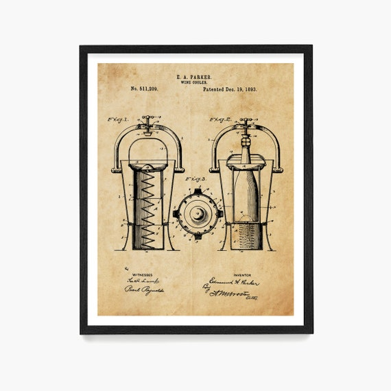 Wine Poster, Wine Art, Wine Cooler Patent, Wine Decor, Wine Wall Art, White Wine, Wine Gift, Kitchen Wall Art