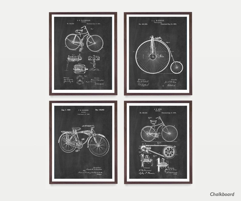Bicycle Patent Art  Bicycle Poster  Vintage Bicycle  Chalkboard