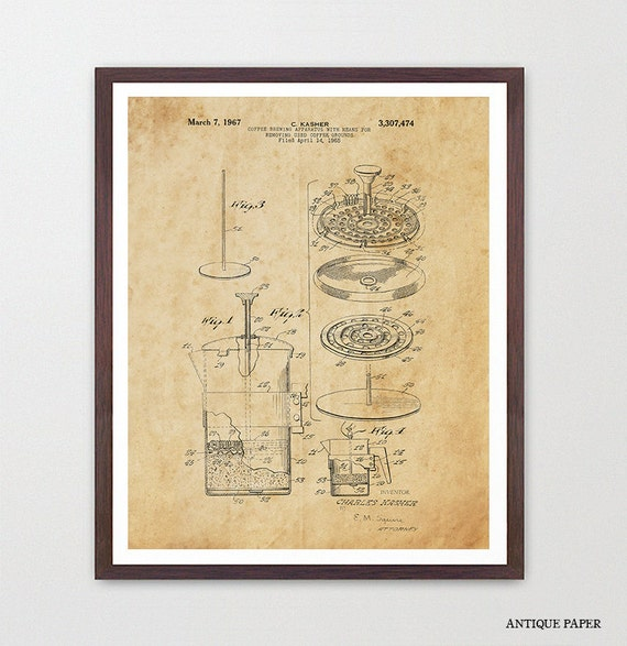 Coffee Patent Poster - French Press - Kitchen Poster - Kitchen Decor - Coffee Art - Patent Print - Coffee Decor - Kitchen Wall Art - Home