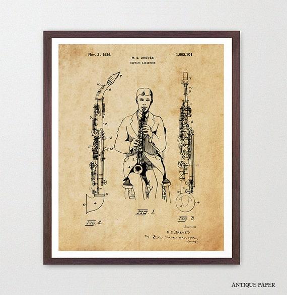Saxophone Patent - Soprano Saxophone - Saxophone Poster - Saxophone Art - Saxophone Wall Art - Woodwind - Marching Band - Music Poster