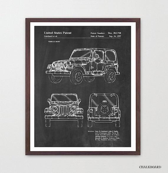 Jeep Wrangler - Jeep Poster - Jeep Patent - Jeep Art - Jeep Patent Art - Jeep Wrangler Patent - Truck Art - Car Art - Truck Patent - Room