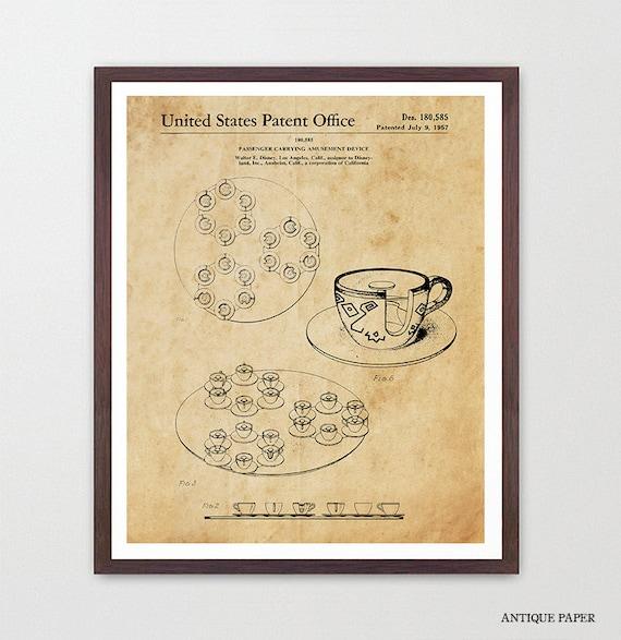 Disneyland Patent - Disneyland Patent Art - Tea Cups - Tea Cup Ride - Disneyland - Disney World Art - Girls Room Art - Girls Room Poster