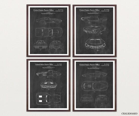 Corvette Patent Posters - Corvette Poster - Corvette Patent Art - Corvette Wall Art - Car Lover - Chevrolet - Boys Room - Corvette Gift