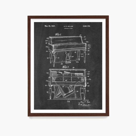 Piano Patent Poster, Piano Art Print, Piano Gift, Music Poster, Music Gift, Piano Teacher Gift, Music School Decor, Musician Gift