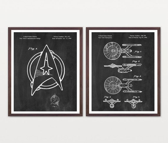 Star Trek Patent Poster - Star Trek Enterprise - Enterprise Patent - Kirk - Star Trek Art - Star Trek Wall Art - Star Trek Gift - Sci Fi Art