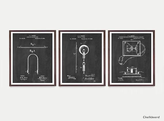 Edison Light Bulb Patent Art - Edison Patent - Edison Patent Poster - Light Bulb - Light Bulb Patent  Industrial Design Poster - Electrician