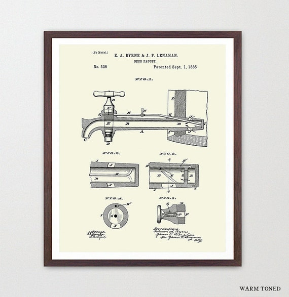 Beer Poster - Beer Faucet - Beer Tap - Keg - Beer Brewing - Beer Art - Beer Decor - Bar - Beer Patent - Beer Wall Art - Brewery - Home Brew