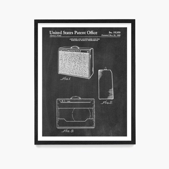 Fender Guitar Amp Patent Poster Wall Art, Electric Guitar, Music Poster, Amplifier Patent, Guitar Player Gift, Music Decor