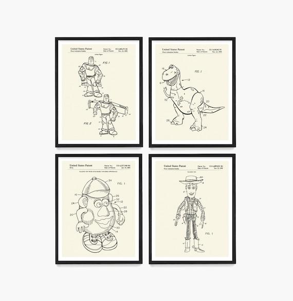 Toy Wall Art, Toy Story Patent Art, Toy Story Poster, Buzz, Woody, Mr Potato Head, Toy Patent, Toy Art, Kids Room Art, Nursery