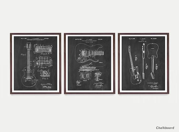 Guitar Patent - Guitar Suite - Electric Guitar Patent - Guitar Art - Les Paul - Fender Patent - Les Paul Patent - Guitar Wall Art - Music
