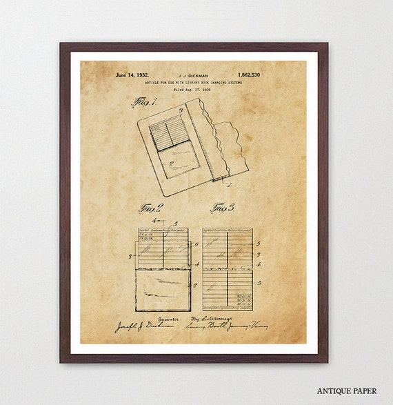Library Patent Art - Library Fine - Library Art - Library Poster - Librarian Art - Librarian Poster - Library Decor - Literary
