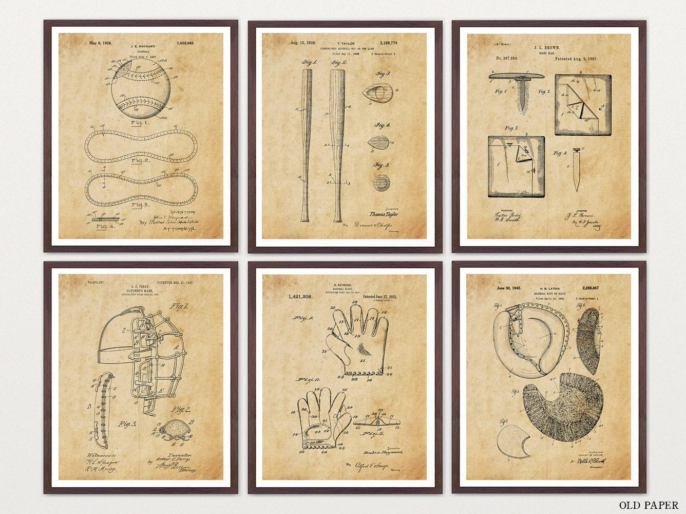 Baseball Patent Print Set - Baseball Art - Baseball Wall Art ...