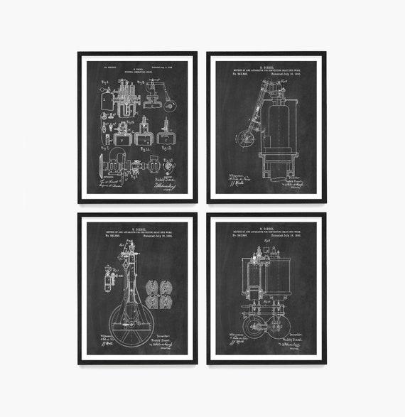 Diesel Engine Patent Art, Diesel Art, Diesel Patent, Diesel Poster, Truck Engine, Car Engine, Engine Art, Mechanic, Truck Poster, Garage Art
