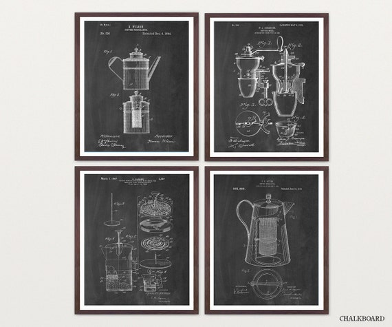 COFFEE PATENT COLLECTION - Coffee Art - Coffee Poster - Coffee Grinder Patent - Percolator Patent - French Press Patent - French Press - Art