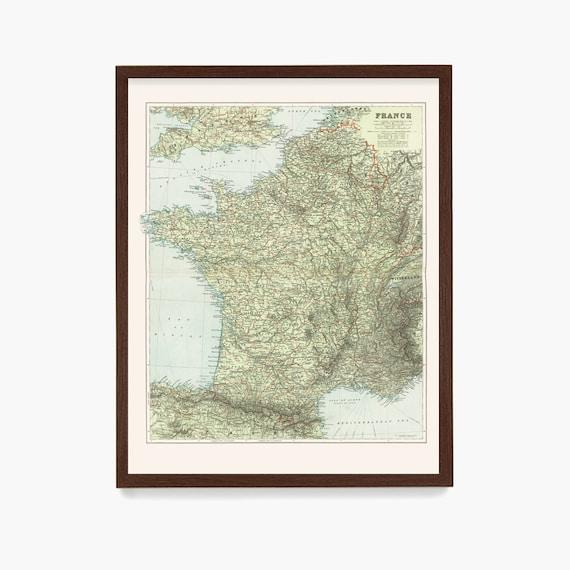 France Map, French Map, Map Art, Map Decor, Europe, France Art, France Decor, Vintage France, Map Art French Art, Paris Art, Home Decor