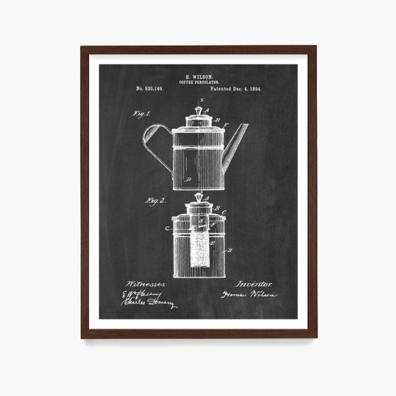 Coffee Percolator Patent, Coffee Wall Art, Kitchen Poster, Kitchen Decor, Housewarming Gift, Caffeine, Home Decor, Coffee Shop Art