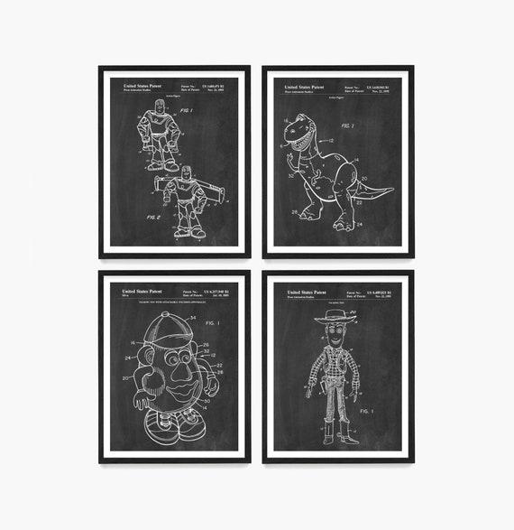 Toy Story Patent Art, Toy Story Art, Toy Story Poster, Buzz Lightyear, Woody, Mr Potato Head, Toy Patent, Toy Art, Kids Room Art
