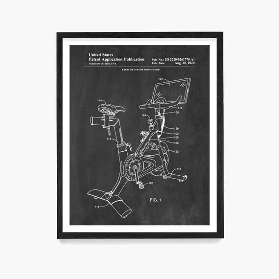 Peloton Patent Art, Peloton Wall Art, Exercise Bike Patent, Peloton Poster, Home Gym Decor, Gym Patent, Gym Art, Gym Wall Art