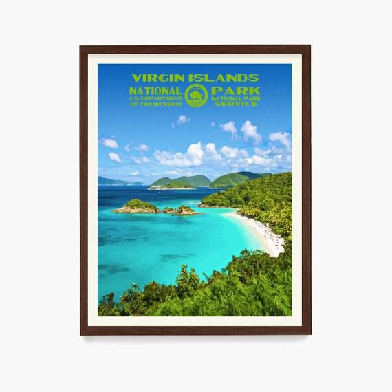 Virgin Islands National Park Poster, US Virgin Islands, National Park Art, WPA, WPA Poster, Wpa Art, Trunk Bay, Trunk Bay Art, Canvas Art