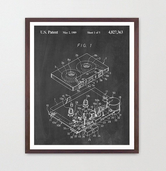 Cassette - Cassette Patent - Tape - 80s music - 80's art - Music poster - music Wall Art - Tape Deck - Tape recorder - Throw Back old school