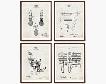 Shaving Patent Wall Art, Bathroom Decor, Men's Bathroom Art, Bathroom Remodel, Shaving Brush Patent, Housewarming, Shaving Patent