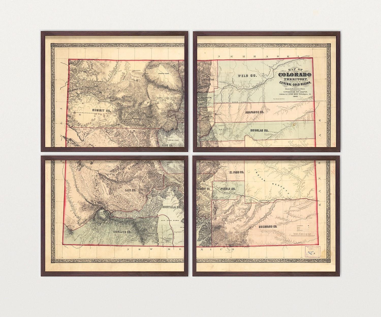 Colorado Map Art.Colorado Map Antique Map Archival Reproduction Colorado Art