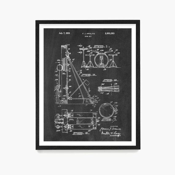 Drum Set Patent Print, Drum Wall Art, Drummer Gift, Drum Kit Patent, Drum Poster, Music Decor, Music Studio Decor