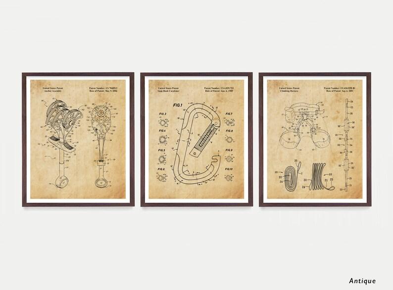 Rock Climbing Patent Prints Rock Climbing Art Carabiner Antique