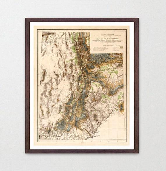 Utah Map - Utah Art - Utah Poster - Utah Decor - Salt Lake City - Salt lake Poster - Utah Wall Art - Vintage Utah - Topographical Map