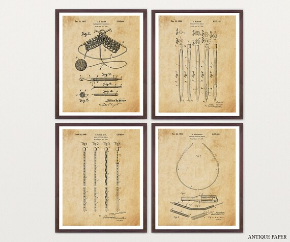 Knitting Patent Art - Knitting Poster - Knitting Decor - Knitting Needles - Yarn - Sewing Art - Sewing Poster - Knitting Decor - Sew - Knit