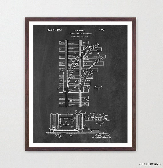 Train Tracks - Train Poster - Railroad Art - Railroad Track Patent - Train Patent - Train Art  - Railroad Poster - Railroad Patent - Canvas