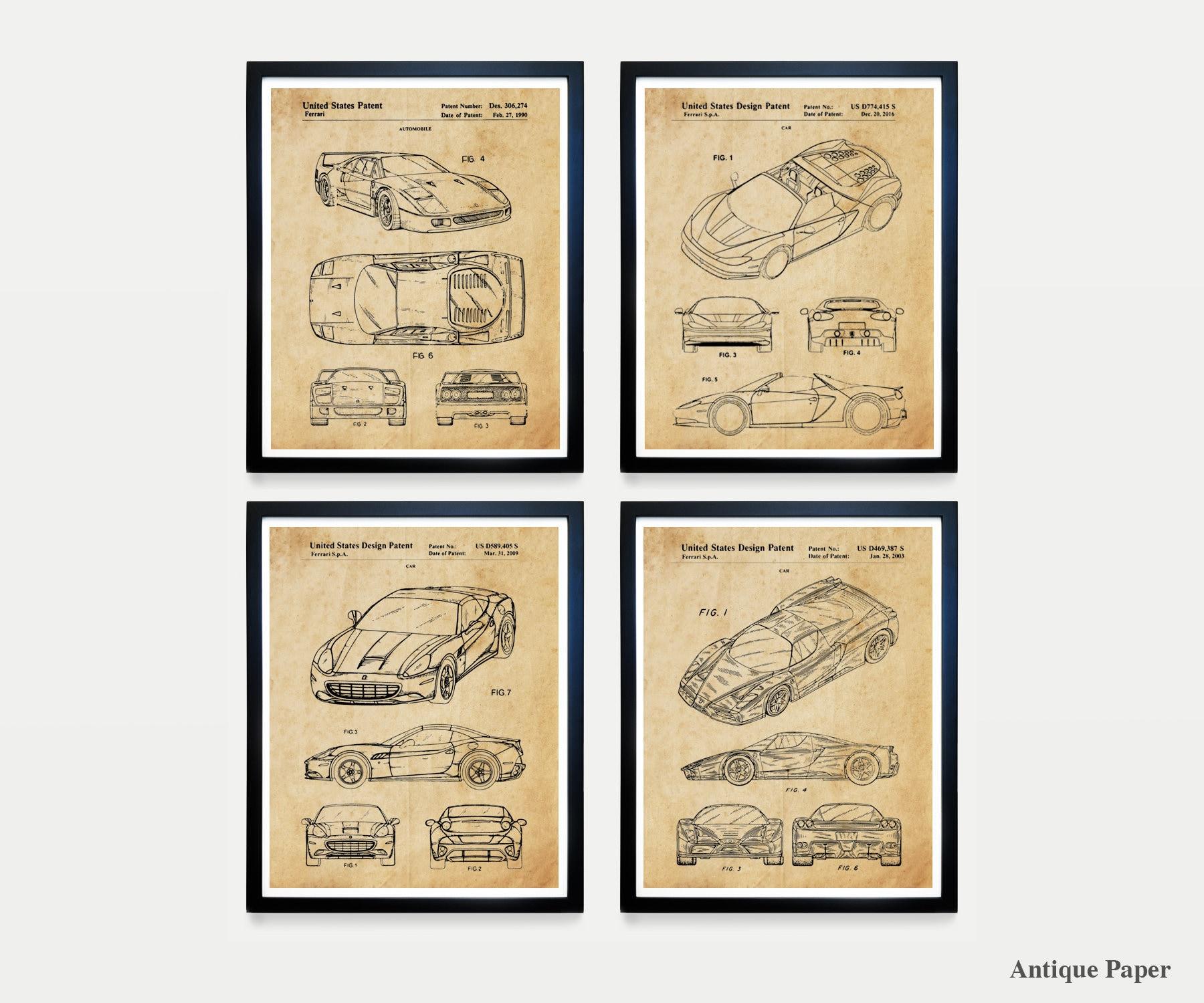 Ferrari Patent Art - Ferrari Poster - Ferrari Wall Art - Ferrari ...