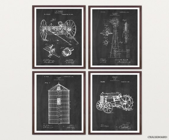 Farm Patent Art Set - Farm Art - Farming Poster - Farming Art - Farmhouse - Tractor - Silo - Tractor Patent - Windmill - Windmill Patent
