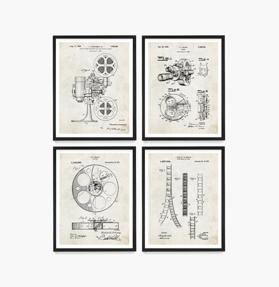 Cinema Patent Art, Movie Patent, Movie Poster, Film Camera, Movie Projector, Film Reel, Film Patent, Living Room Wall Art, Home Decor