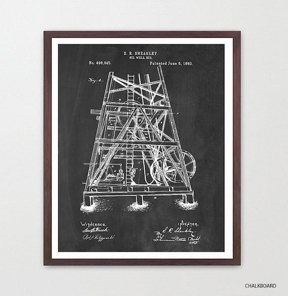 Oil Rig - Oil Derrick Art Print - Drilling Patent - Oil Art - Patent Print - Patent Poster - Oil Rig Poster - Oil Derrick Poster Canvas