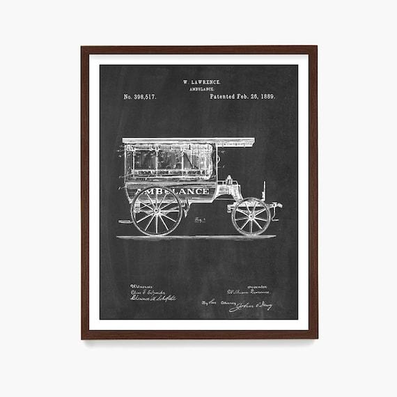 Ambulance Patent Art, Ambulance Poster, Paramedic Poster, Paramedic Patent, Nurse, Doctor, Hospital Art, EMT, Canvas Art, Health Care Worker