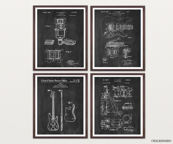 Inventions of Rock n Roll - Fender Poster -Fender Wall Art - Guitar Poster - Guitar Wall Art - Drums Art - Drummer Art - Rock Band - Band