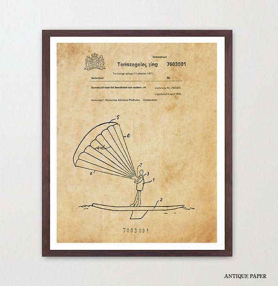 Kite Surfing - Kite Surfing Patent - Kite Surfing Art - Kite Surfing Poster - Surfing Art - Surf Poster - Surf Patent - Kite Surf - Canvas