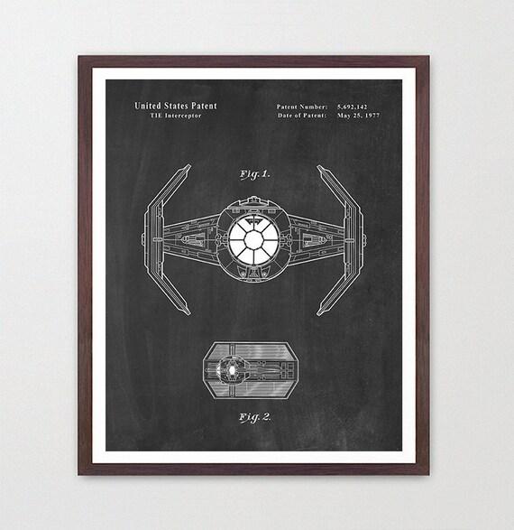 Star Wars - TIE Fighter - Star Wars Patent - Star Wars Poster - Death Star - TIE Fighter Patent - Darth Vader Poster - Star Wars Gift