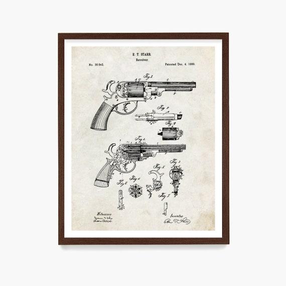 Revolver Patent Art, Revolver Poster, Gun Patent, Revolver Patent, Gun Poster, Revolver Art, Gun Wall Art, Hand Gun, Pistol, Vintage Guns
