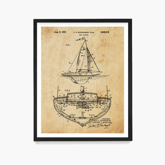 Sailboat Patent Wall Art, Sailing Poster, Sailing Patent, Maritime Theme, Beach House Decor, Nautical Art, Sailing Gift