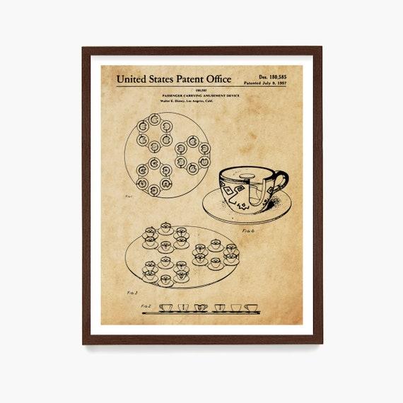 Disneyland Patent Art, Tea Cup Ride Patent, Disneyland Patent Art, Disneyland Wall Art, Disney World Art, Girls Room Art, Girls Room Poster