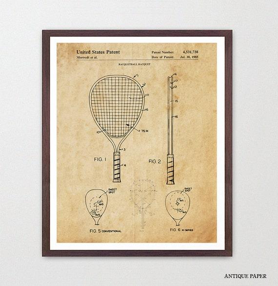 Racquetball Art - Racquetball Poster - Racquetball Patent - Racquetball Wall Art - Racquetball Decor - Racquetball Racquet - Vintage Racquet