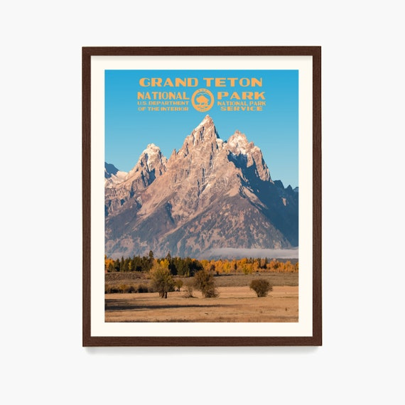 Grand Teton National Park Poster, National Park Wall Art, WPA Poster, Grand Teton Art, Wyoming Travel, Wyoming Home, Cowboy Art