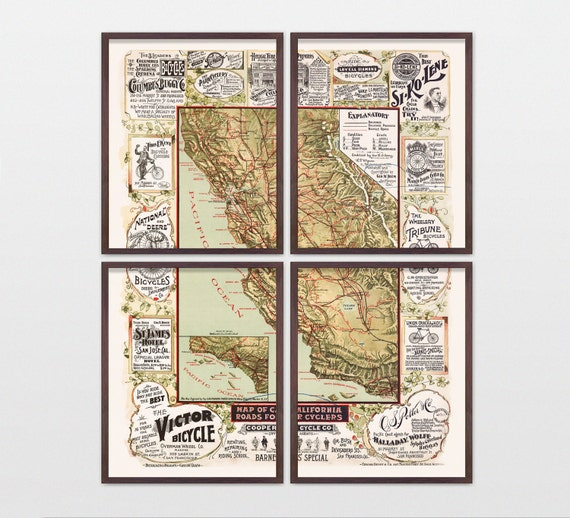 California Map - Cycling Map - Antique Map - Archival Reproduction - California Art - Vintage California - California Poster - Cycling Art
